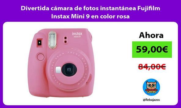 Divertida cámara de fotos instantánea Fujifilm Instax Mini 9 en color rosa