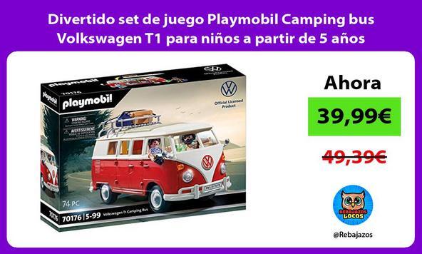 Divertido set de juego Playmobil Camping bus Volkswagen T1 para niños a partir de 5 años