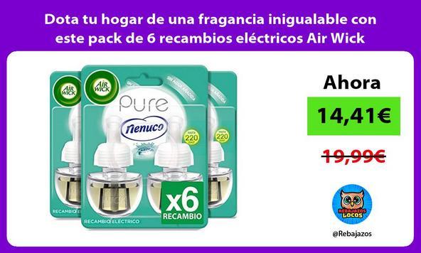 Dota tu hogar de una fragancia inigualable con este pack de 6 recambios eléctricos Air Wick Nenuco