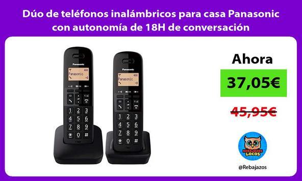 Dúo de teléfonos inalámbricos para casa Panasonic con autonomía de 18H de conversación