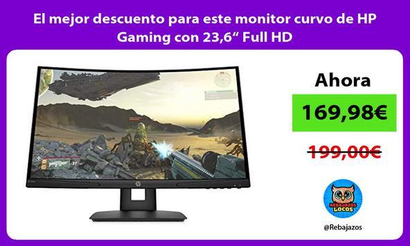 """El mejor descuento para este monitor curvo de HP Gaming con 23,6"""" Full HD"""