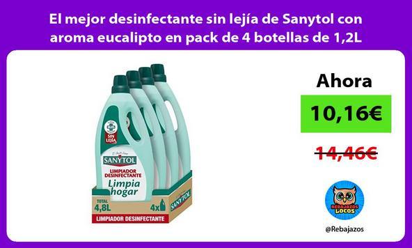 El mejor desinfectante sin lejía de Sanytol con aroma eucalipto en pack de 4 botellas de 1,2L
