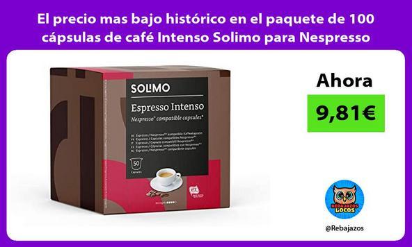 El precio mas bajo histórico en el paquete de 100 cápsulas de café Intenso Solimo para Nespresso