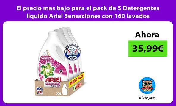 El precio mas bajo para el pack de 5 Detergentes líquido Ariel Sensaciones con 160 lavados