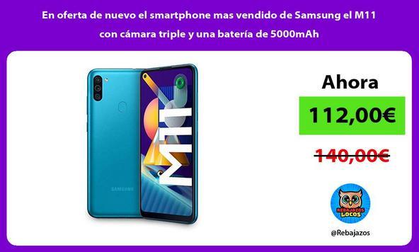 En oferta de nuevo el smartphone mas vendido de Samsung el M11 con cámara triple y una batería de 5000mAh