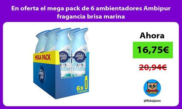 En oferta el mega pack de 6 ambientadores Ambipur fragancia brisa marina