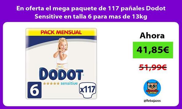 En oferta el mega paquete de 117 pañales Dodot Sensitive en talla 6 para mas de 13kg