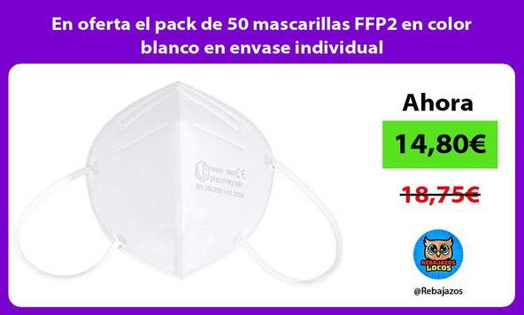 En oferta el pack de 50 mascarillas FFP2 en color blanco en envase individual