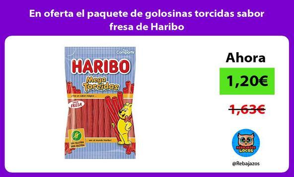 En oferta el paquete de golosinas torcidas sabor fresa de Haribo