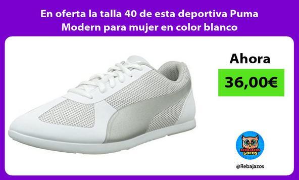 En oferta la talla 40 de esta deportiva Puma Modern para mujer en color blanco
