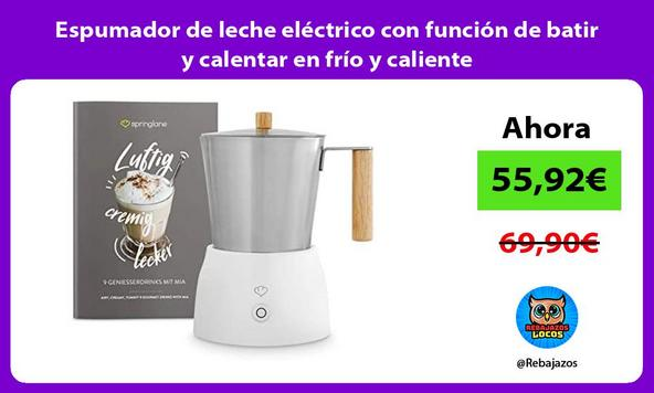 Espumador de leche eléctrico con función de batir y calentar en frío y caliente