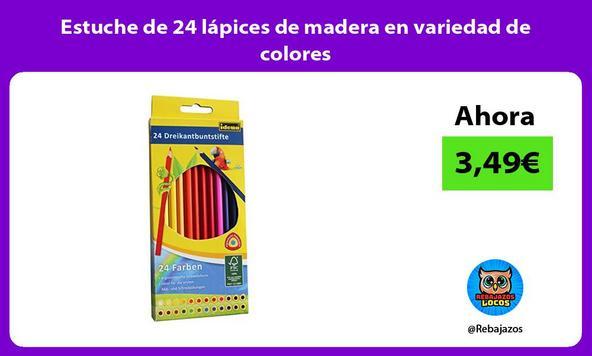 Estuche de 24 lápices de madera en variedad de colores