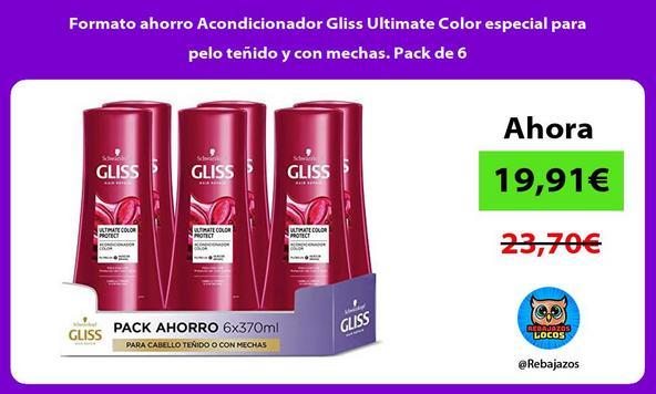 Formato ahorro Acondicionador Gliss Ultimate Color especial para pelo teñido y con mechas. Pack de 6