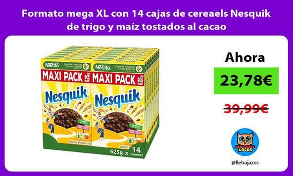 Formato mega XL con 14 cajas de cereaels Nesquik de trigo y maíz tostados al cacao