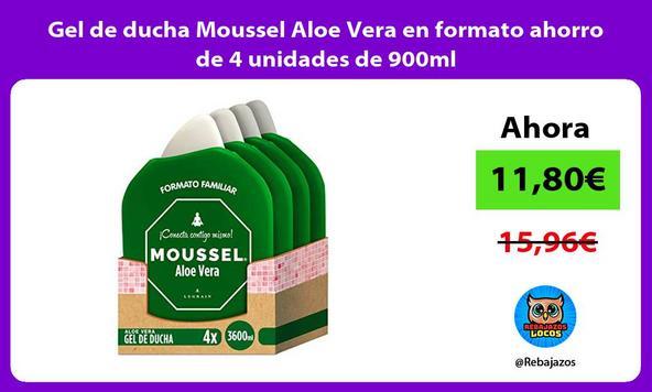 Gel de ducha Moussel Aloe Vera en formato ahorro de 4 unidades de 900ml