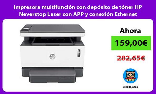 Impresora multifunción con depósito de tóner HP Neverstop Laser con APP y conexión Ethernet