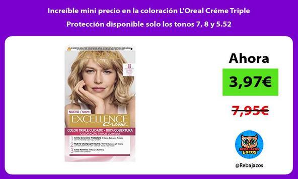 Increíble mini precio en la coloración L'Oreal Créme Triple Protección disponible solo los tonos 7, 8 y 5.52