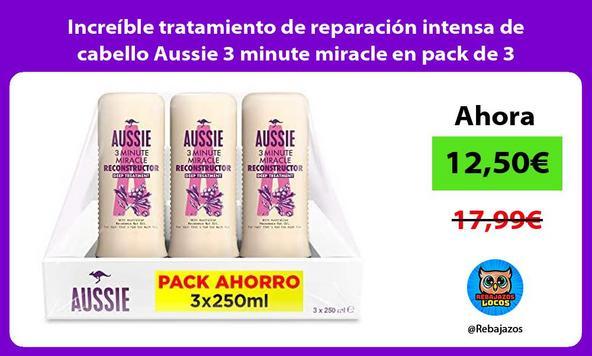 Increíble tratamiento de reparación intensa de cabello Aussie 3 minute miracle en pack de 3