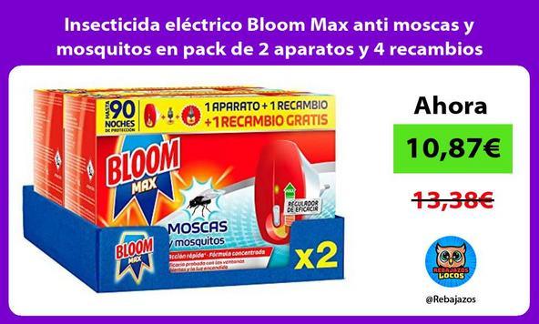 Insecticida eléctrico Bloom Max anti moscas y mosquitos en pack de 2 aparatos y 4 recambios