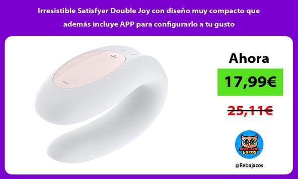 Irresistible Satisfyer Double Joy con diseño muy compacto que además incluye APP para configurarlo a tu gusto