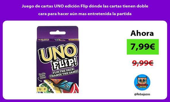 Juego de cartas UNO edición Flip dónde las cartas tienen doble cara para hacer aún mas entretenida la partida