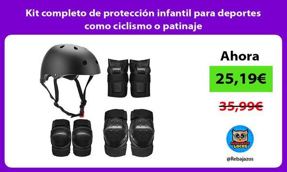 Kit completo de protección infantil para deportes como ciclismo o patinaje