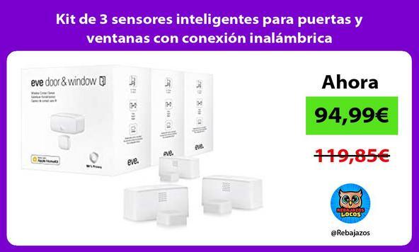 Kit de 3 sensores inteligentes para puertas y ventanas con conexión inalámbrica