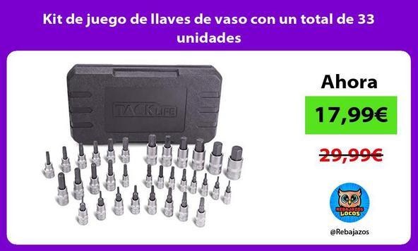 Kit de juego de llaves de vaso con un total de 33 unidades
