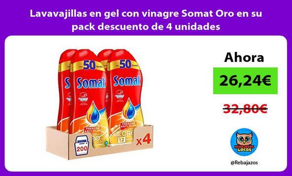 Lavavajillas en gel con vinagre Somat Oro en su pack descuento de 4 unidades