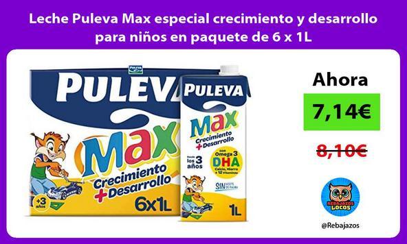 Leche Puleva Max especial crecimiento y desarrollo para niños en paquete de 6 x 1L