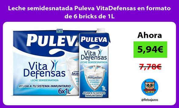 Leche semidesnatada Puleva VitaDefensas en formato de 6 bricks de 1L