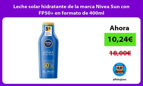 Leche solar hidratante de la marca Nivea Sun con FP50+ en formato de 400ml
