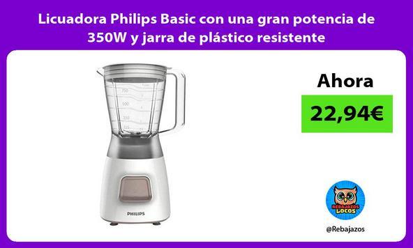 Licuadora Philips Basic con una gran potencia de 350W y jarra de plástico resistente