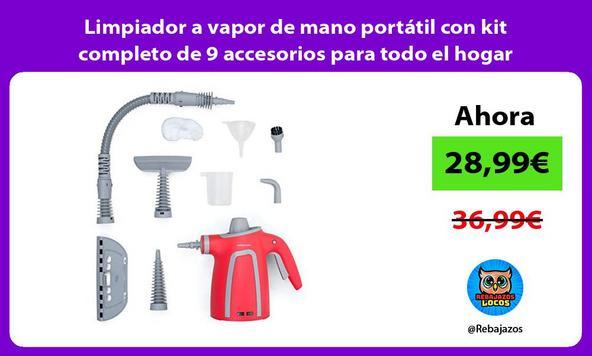 Limpiador a vapor de mano portátil con kit completo de 9 accesorios para todo el hogar