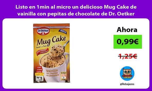 Listo en 1min al micro un delicioso Mug Cake de vainilla con pepitas de chocolate de Dr. Oetker