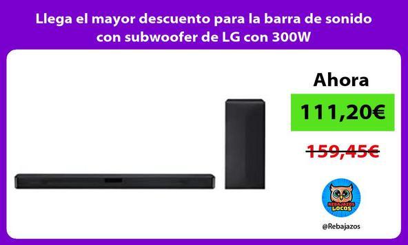 Llega el mayor descuento para la barra de sonido con subwoofer de LG con 300W