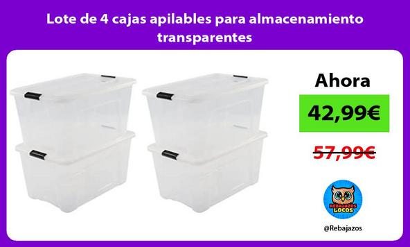 Lote de 4 cajas apilables para almacenamiento transparentes