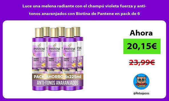 Luce una melena radiante con el champú violeta fuerza y anti-tonos anaranjados con Biotina de Pantene en pack de 6