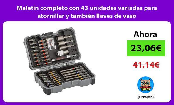 Maletín completo con 43 unidades variadas para atornillar y también llaves de vaso