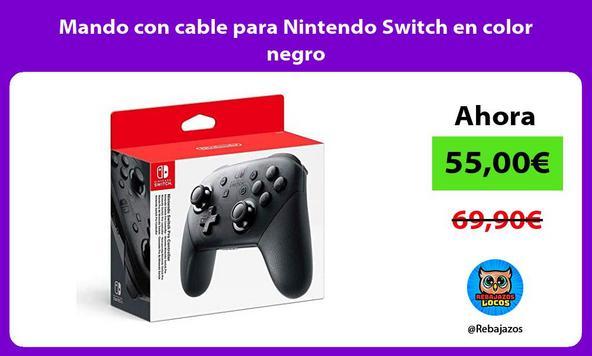 Mando con cable para Nintendo Switch en color negro
