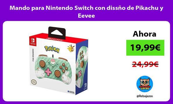Mando para Nintendo Switch con dissño de Pikachu y Eevee