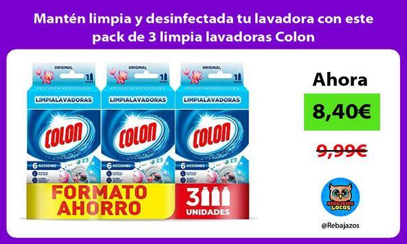 Mantén limpia y desinfectada tu lavadora con este pack de 3 limpia lavadoras Colon