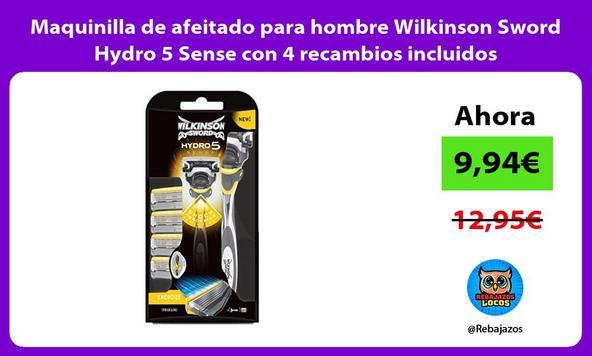 Maquinilla de afeitado para hombre Wilkinson Sword Hydro 5 Sense con 4 recambios incluidos
