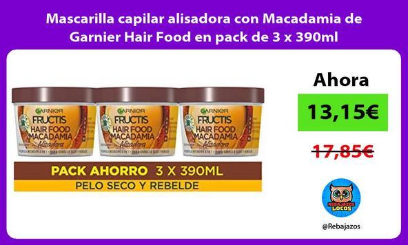 Mascarilla capilar alisadora con Macadamia de Garnier Hair Food en pack de 3 x 390ml