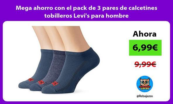 Mega ahorro con el pack de 3 pares de calcetines tobilleros Levi's para hombre
