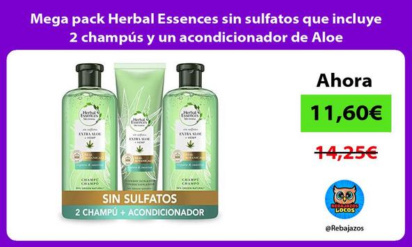 Mega pack Herbal Essences sin sulfatos que incluye 2 champús y un acondicionador de Aloe