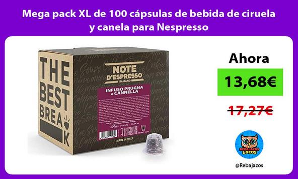 Mega pack XL de 100 cápsulas de bebida de ciruela y canela para Nespresso