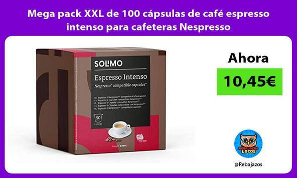 Mega pack XXL de 100 cápsulas de café espresso intenso para cafeteras Nespresso