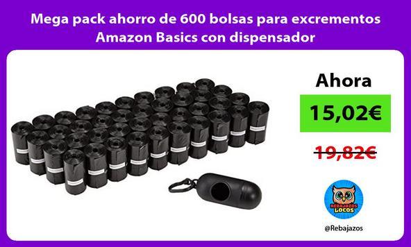 Mega pack ahorro de 600 bolsas para excrementos Amazon Basics con dispensador