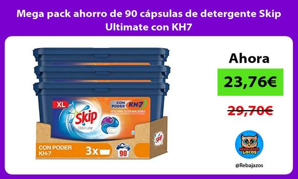 Mega pack ahorro de 90 cápsulas de detergente Skip Ultimate con KH7